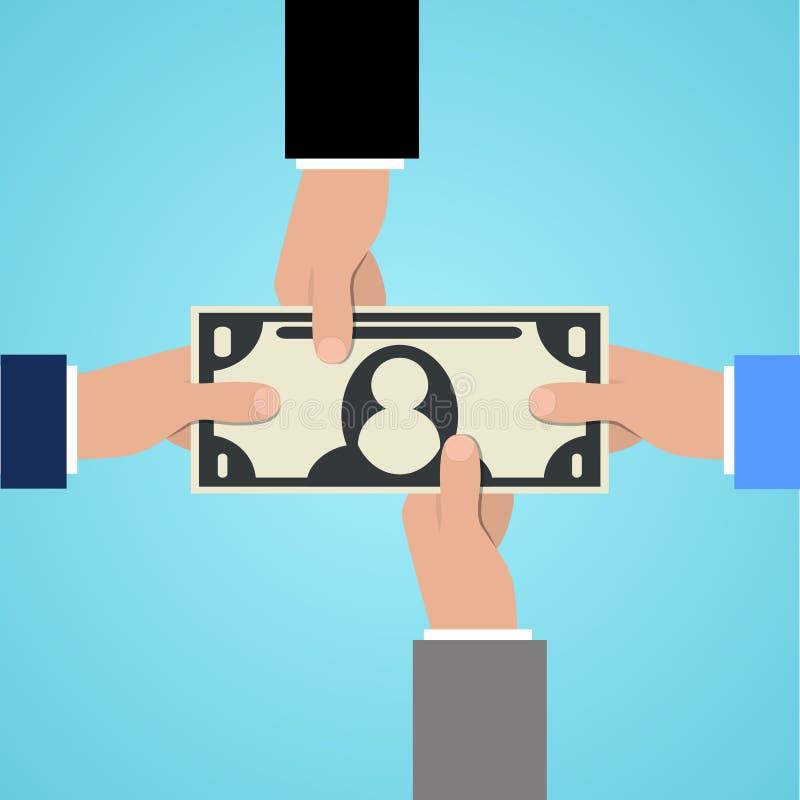 Cuatro manos que alcanzan para cobrar símbolo de la muestra de dólar de los billetes Concepto del negocio y de la riqueza Ilustra libre illustration