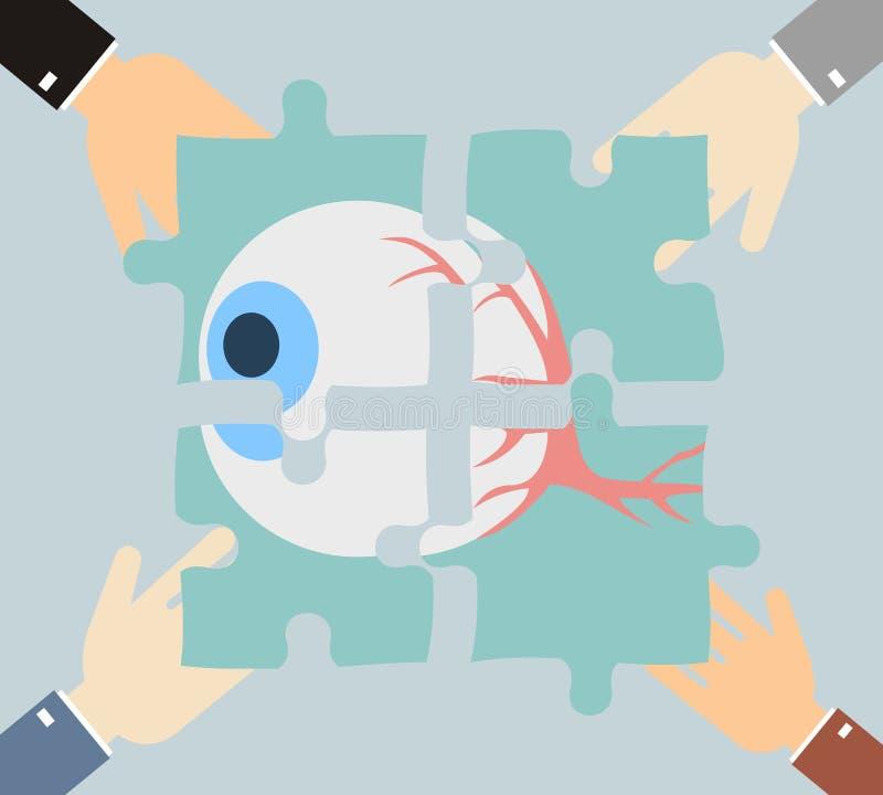 Cuatro manos que ponen el rompecabezas juntan las piezas con la imagen del togeth del ojo libre illustration