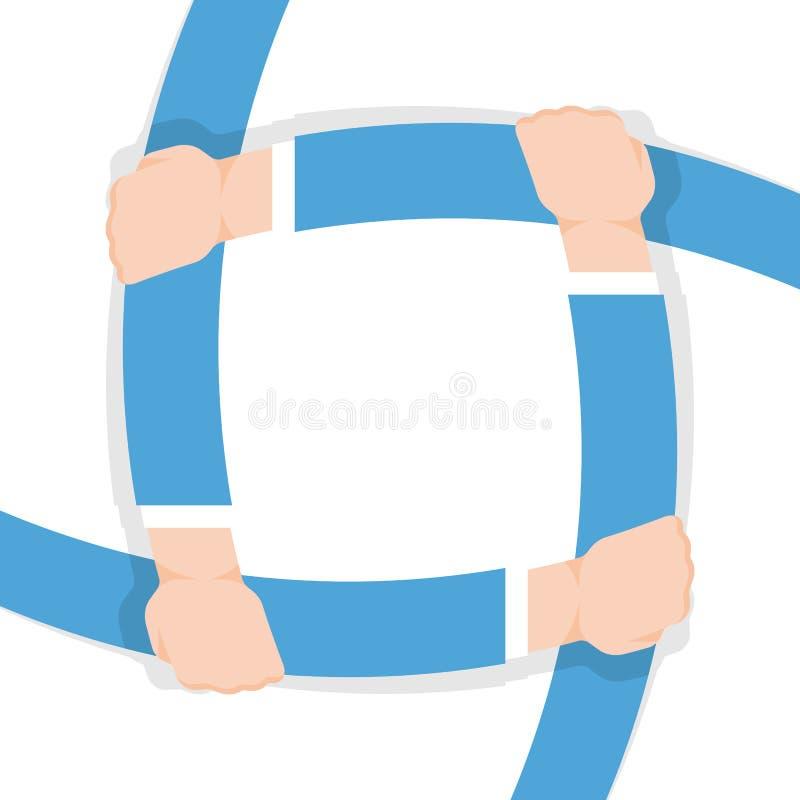 Cuatro manos que se detienen que simboliza diseño del vector de la unidad libre illustration