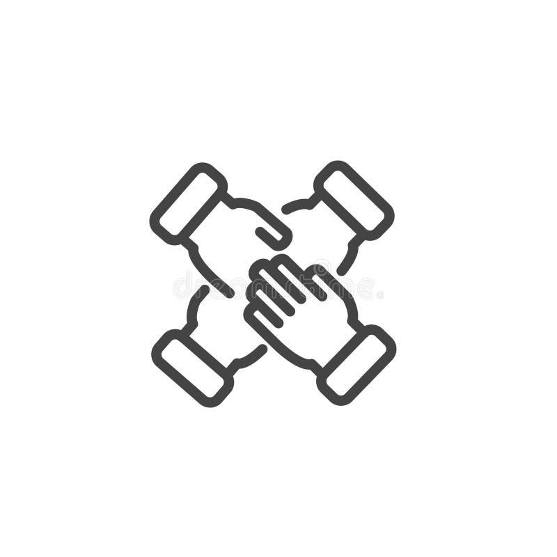 Cuatro manos se apoyan, gente que junta su icono de las manos aislado ilustración del vector