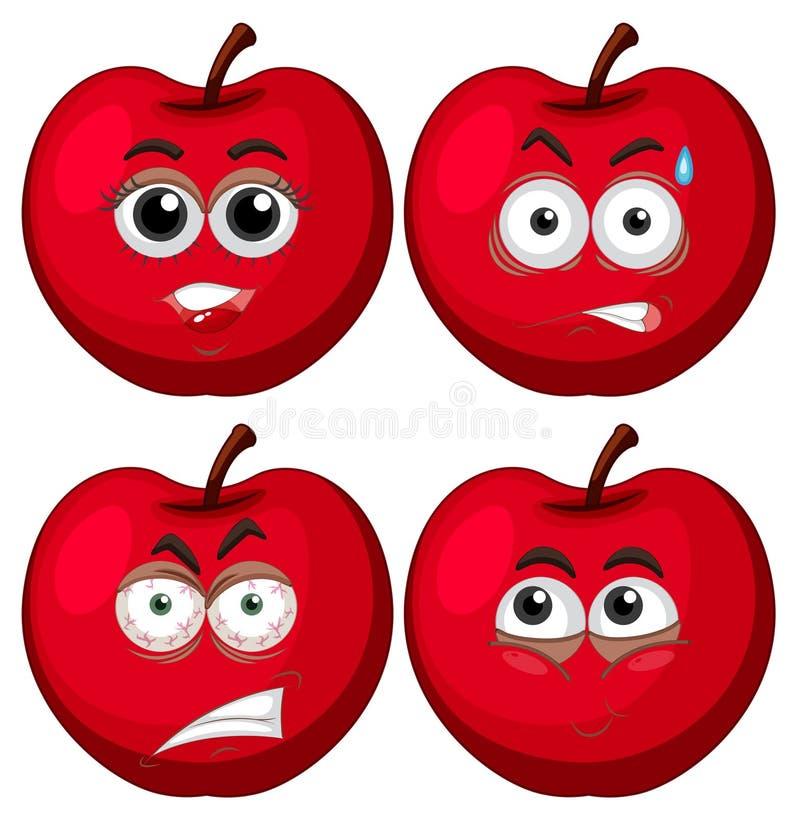 Cuatro manzanas con expresiones faciales stock de ilustración
