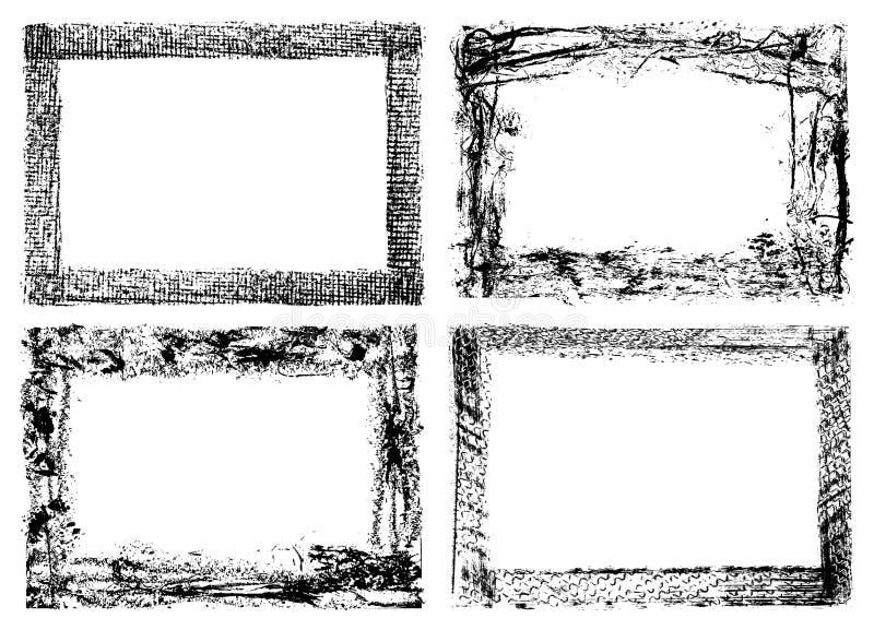 cuatro marcos del grunge aislados en blanco ilustración del vector