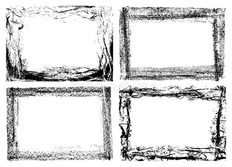 cuatro marcos del grunge aislados en blanco libre illustration
