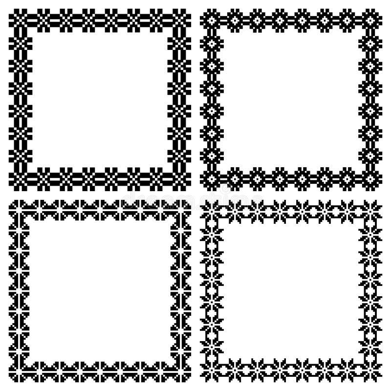 Cuatro Marcos Geométricos étnicos Cuadrados Para Su Diseño, Texto O ...