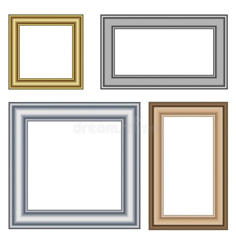 Cuatro Marcos Multicolores Aislados En Blanco Ilustración del Vector ...