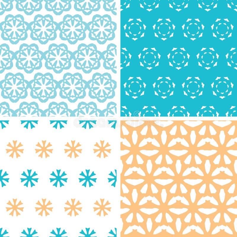 Cuatro modelos inconsútiles de las formas florales amarillas azules abstractas fijados libre illustration