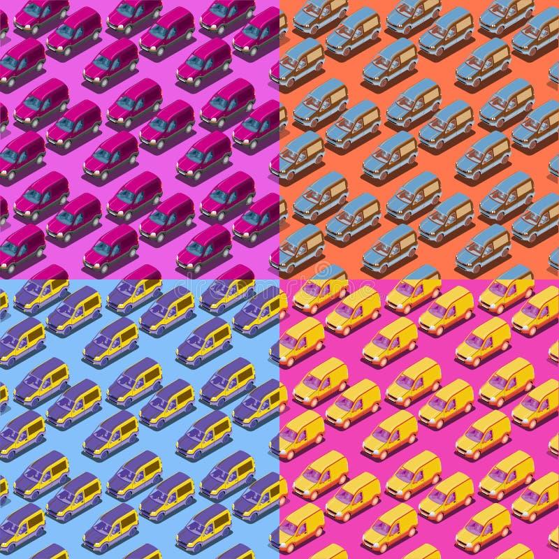 Cuatro modelos isométricos inconsútiles del coche stock de ilustración