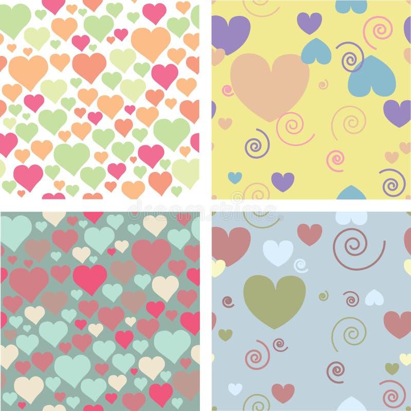 Cuatro modelos para el día de tarjeta del día de San Valentín imagen de archivo