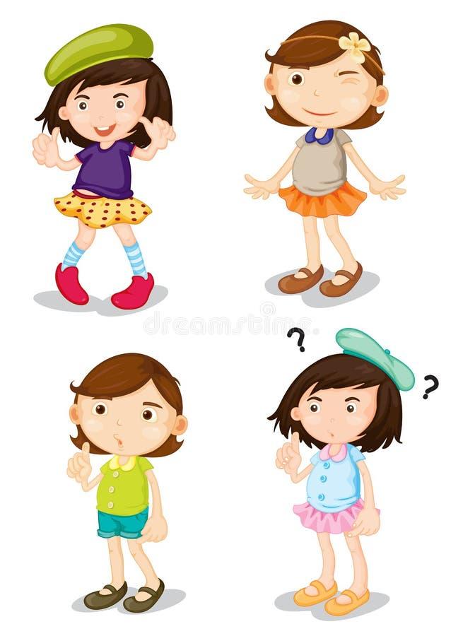 Cuatro muchachas stock de ilustración