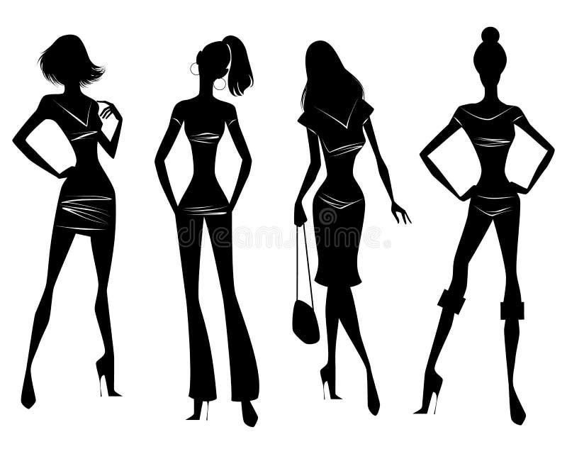 Cuatro muchachas en vestidos libre illustration