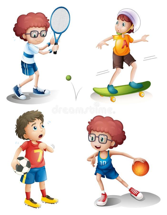 Cuatro muchachos que realizan diversos deportes ilustración del vector