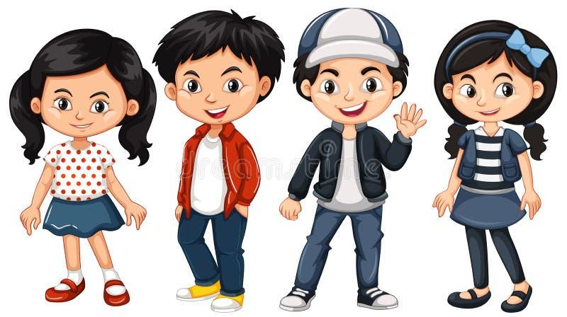 Cuatro niños asiáticos con la cara feliz stock de ilustración