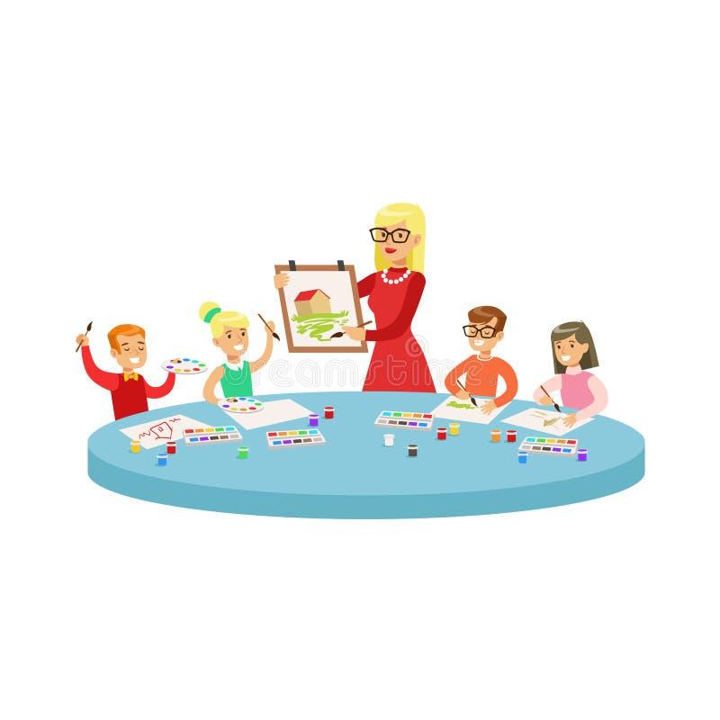 Cuatro niños en Art Class Painting Cartoon Illustration con los niños y su profesor In Creativity de la escuela primaria stock de ilustración