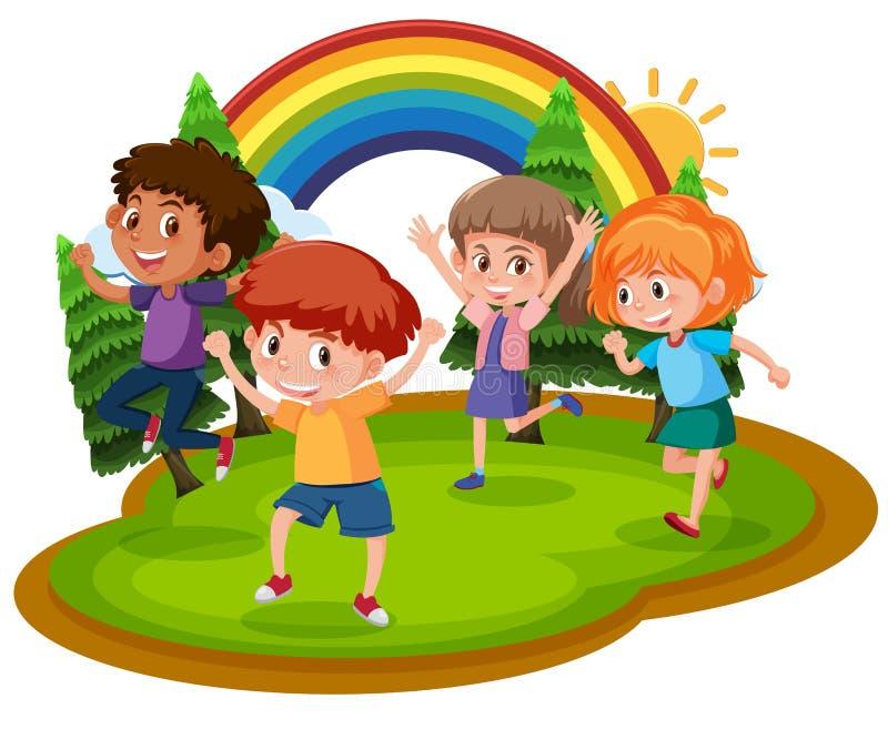 Cuatro niños felices en un parque stock de ilustración