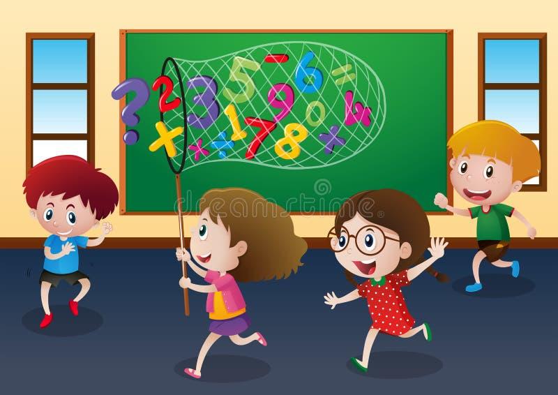Cuatro niños que cogen números en sala de clase libre illustration