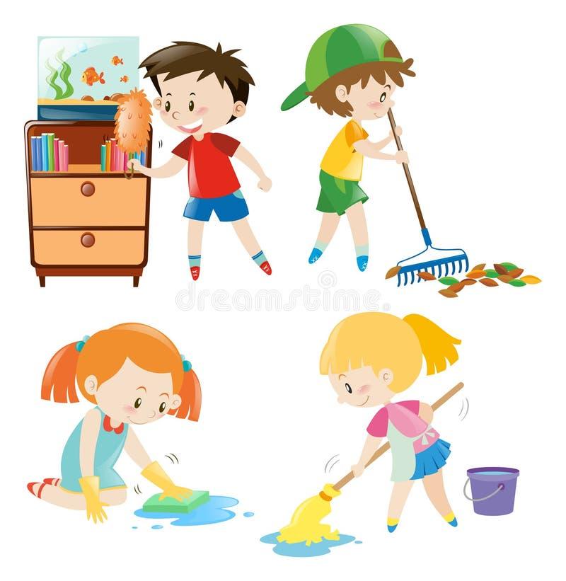 Cuatro Niños Que Hacen Diversas Tareas En Casa Ilustración del ...