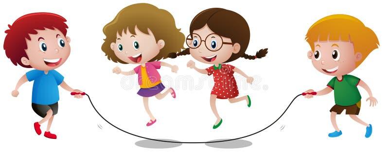 Cuatro niños que juegan la comba libre illustration