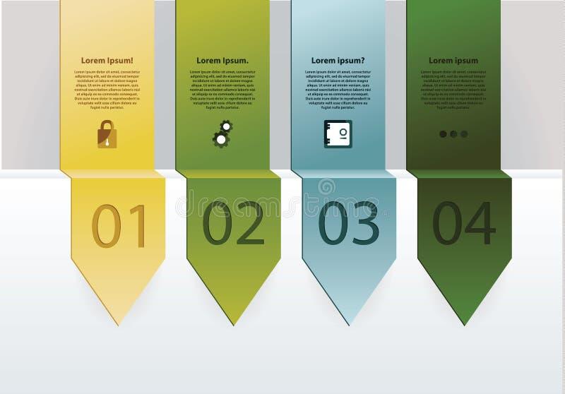 Cuatro opciones. Flechas largas dobladas con el espacio para su texto, iconos ilustración del vector