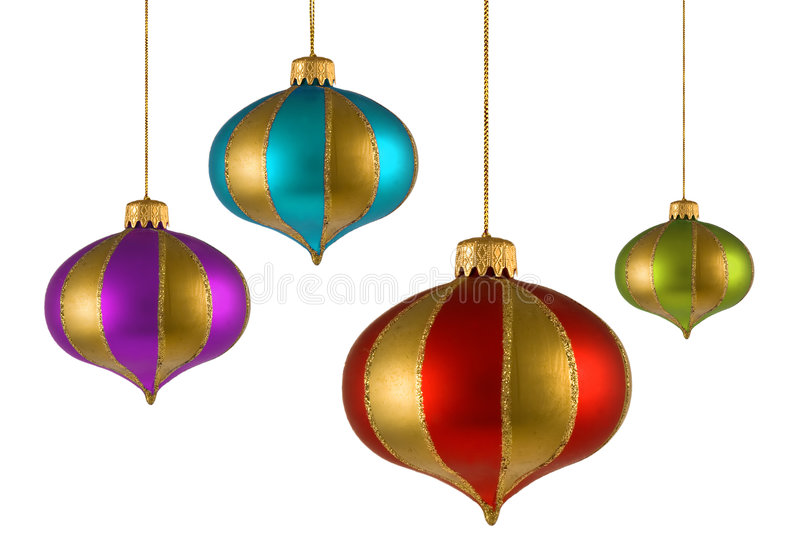 Cuatro ornamentos de la Navidad imagen de archivo libre de regalías