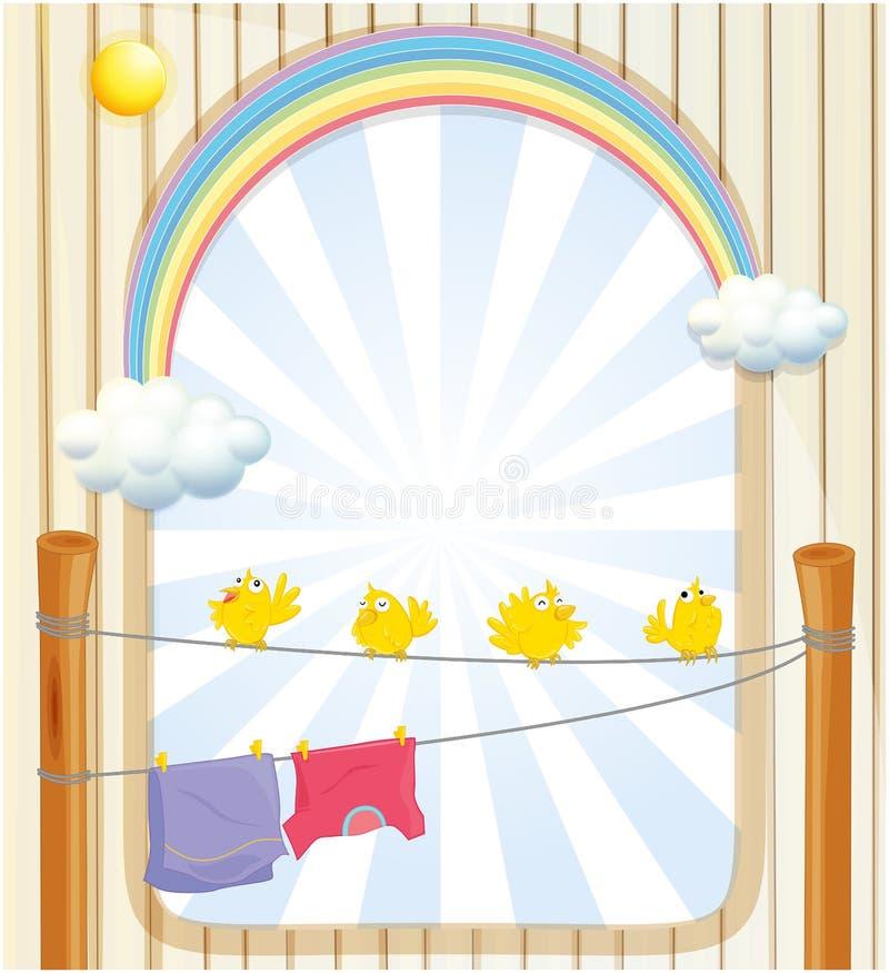 Cuatro pájaros amarillos y dos ropa colgante debajo del sol stock de ilustración