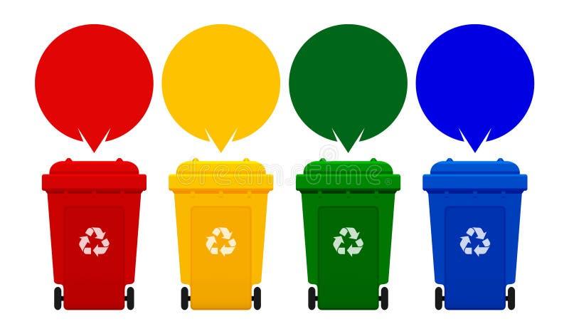 Cuatro papeleras de reciclaje coloridas aisladas en el fondo, el compartimiento y las burbujas blancos del discurso para la plant libre illustration