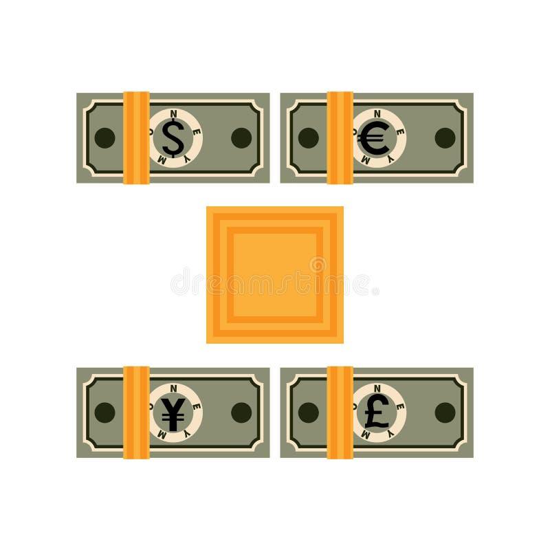 Cuatro paquetes atados de billetes de banco de los países diferentes ilustración del vector