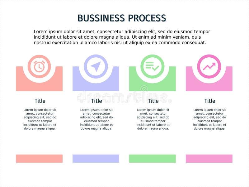 Cuatro paso PowerPoint y plantilla infographic stock de ilustración