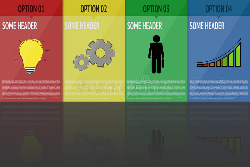 Cuatro pasos infographic Infographics con 4 pasos en colores brillantes con los iconos y la reflexión de la historieta Cronología ilustración del vector