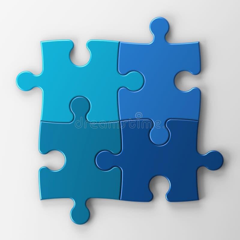 Cuatro pedazos del rompecabezas con el camino de recortes ilustración del vector