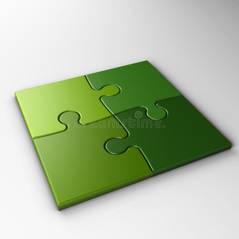 Cuatro pedazos del rompecabezas con el camino de recortes stock de ilustración