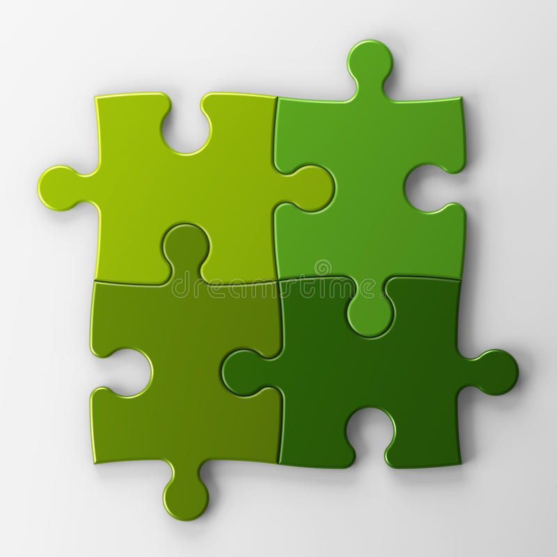 Cuatro pedazos del rompecabezas con el camino de recortes para colocar el co stock de ilustración
