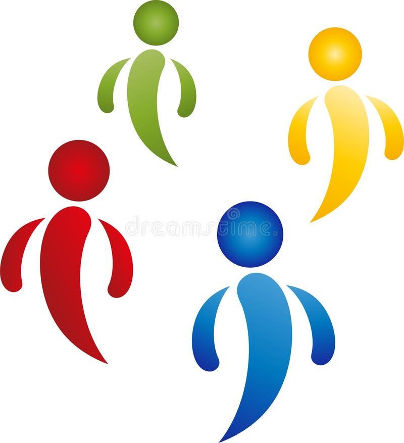 Cuatro personas en logotipo del color, del equipo y de la gente ilustración del vector