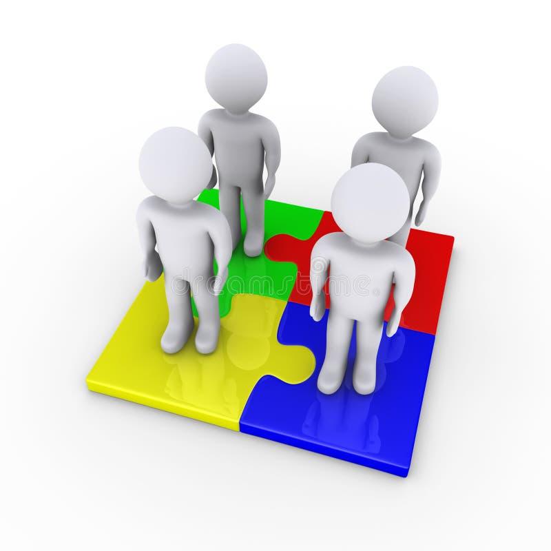 Cuatro personas en pedazos del rompecabezas proporcionan a la solución ilustración del vector