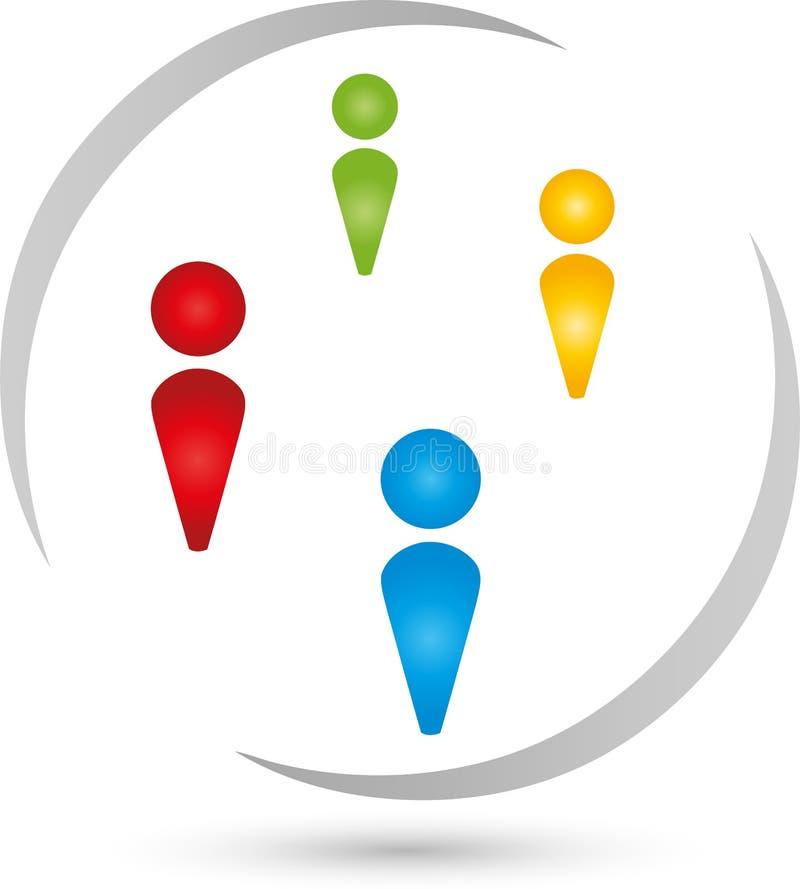 Cuatro personas, logotipos de la gente y del equipo libre illustration