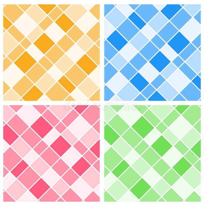Cuatro plantillas del fondo con rejillas coloridas libre illustration