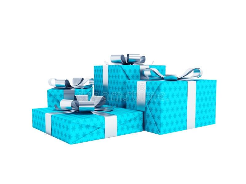 Cuatro regalos azules modernos atados en el arco 3d para no rendir en el fondo blanco ninguna sombra ilustración del vector