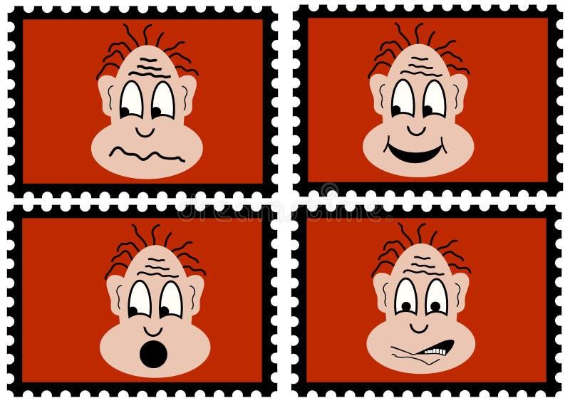 Cuatro sellos - cuatro imitadores stock de ilustración