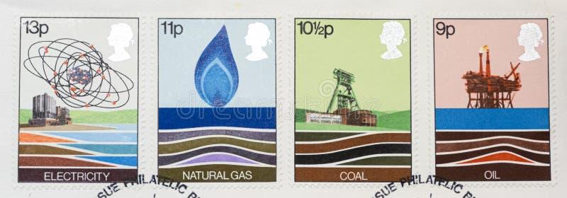 Cuatro sellos que muestran energía fotografía de archivo