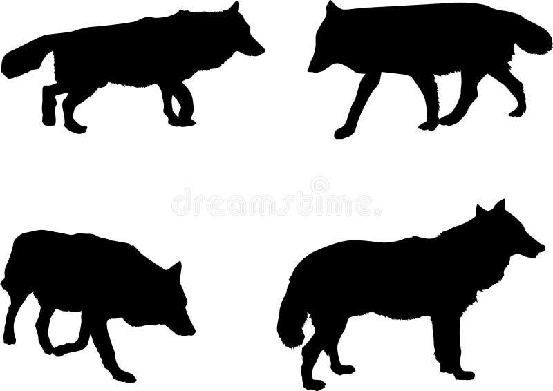 Lobos Perros Siluetas Mamíferos: Cuatro Siluetas Del Lobo Imagen De Archivo Libre De