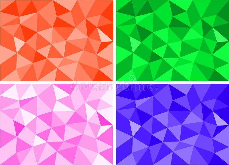 Cuatro sistemas de fondo polivinílico bajo colorido abstracto ilustración del vector