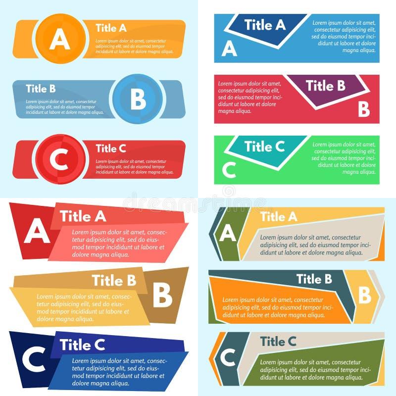 Cuatro sistemas de tres elementos del diseño infographic ilustración del vector