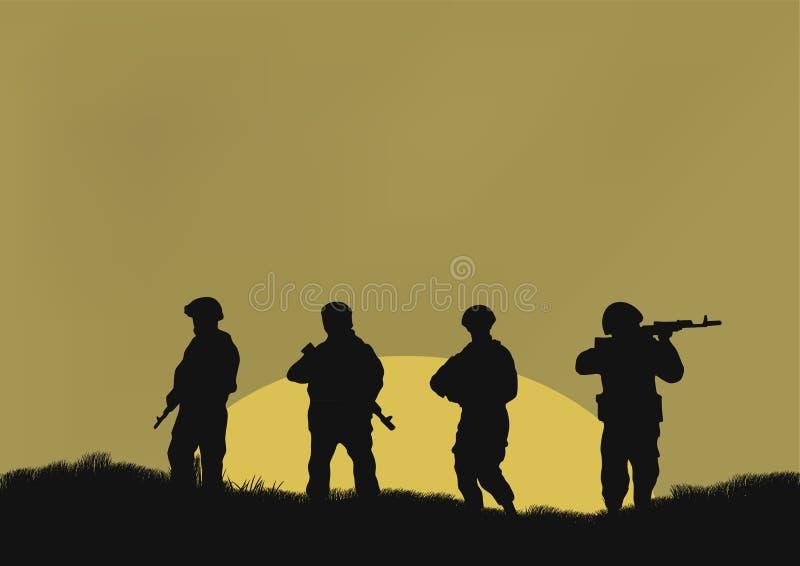 Cuatro soldados stock de ilustración