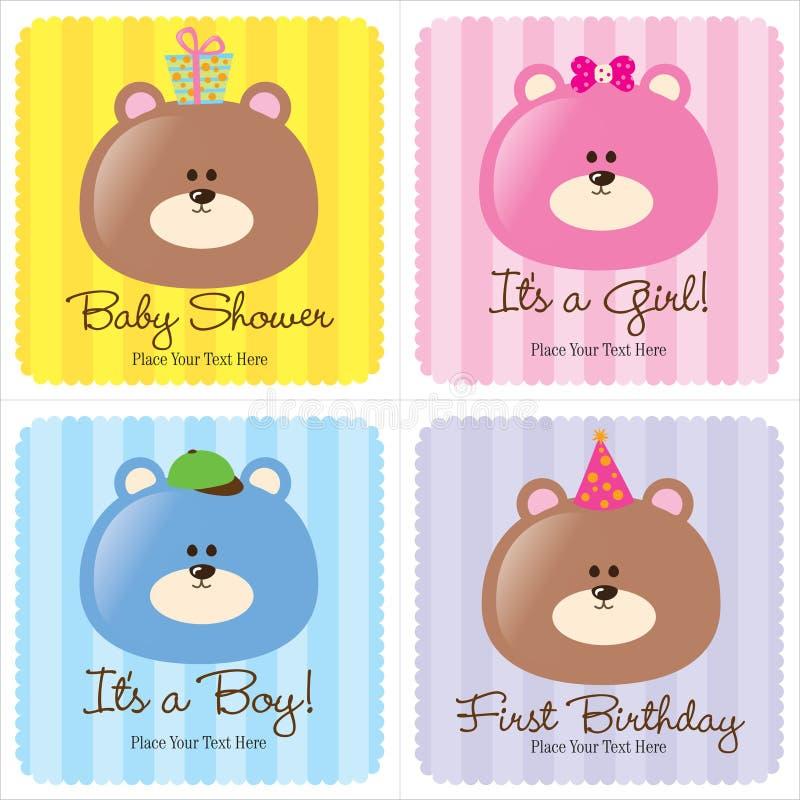 Cuatro tarjetas clasificadas del bebé stock de ilustración