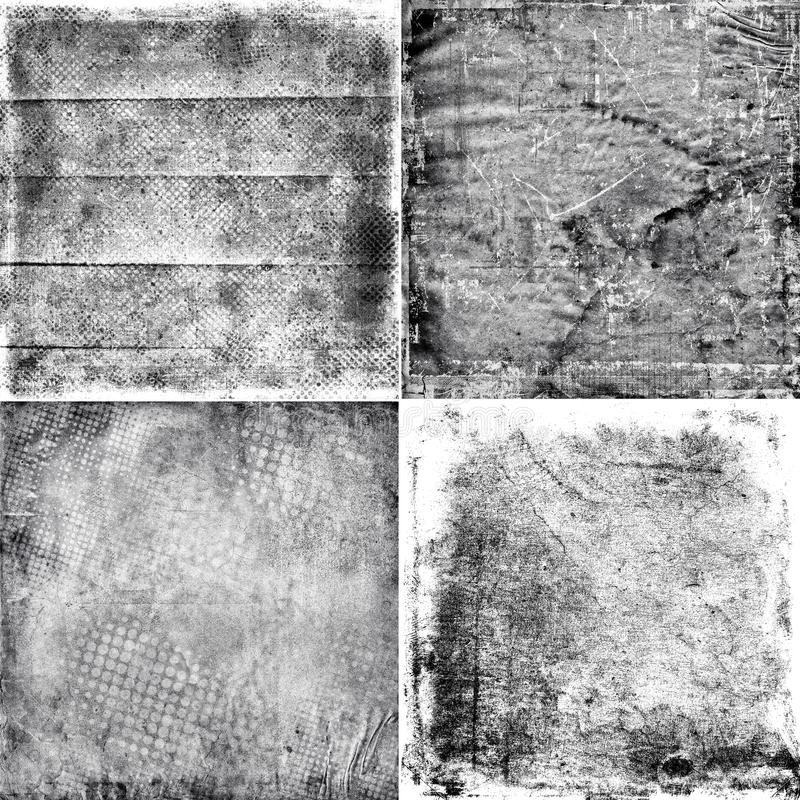 Cuatro texturas blancos y negros del grunge stock de ilustración