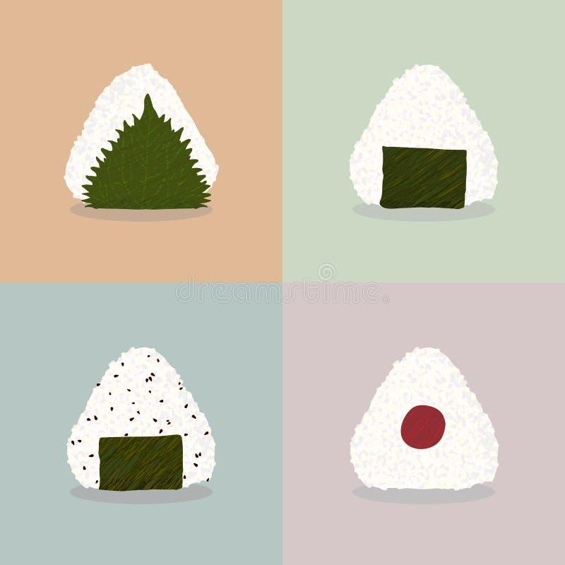 Cuatro tipos de onigiri Cocina del japonés de las bolas de arroz stock de ilustración