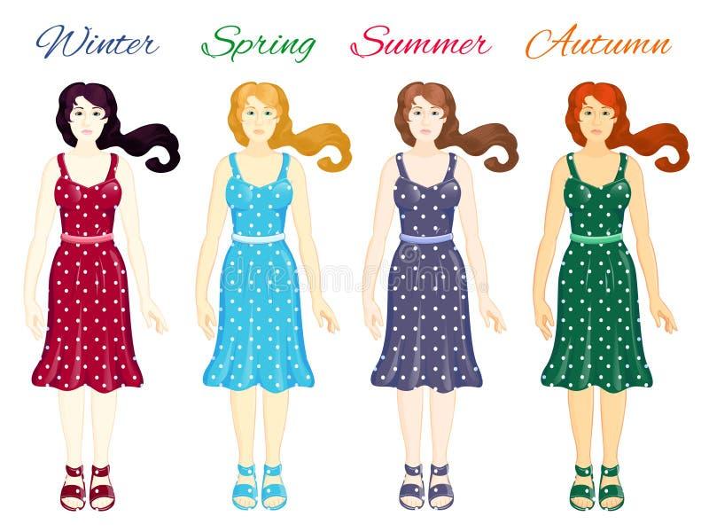 Cuatro tipos del color de una mujer stock de ilustración