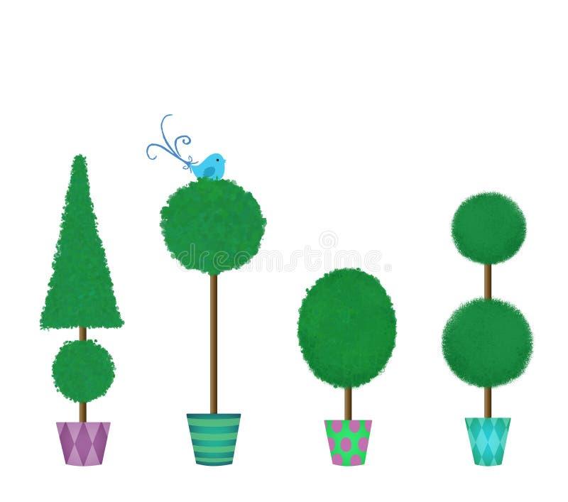 Cuatro Topiaries acortados en fila stock de ilustración