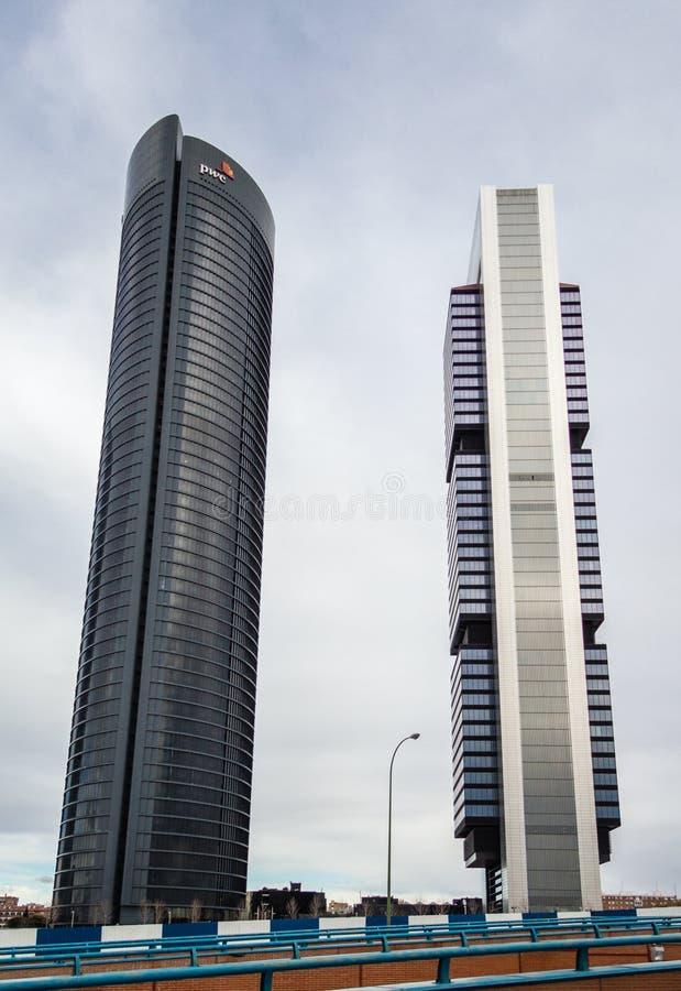 Cuatro Torres Business Area (CTBA) building skyscrapers, in Madrid, Spain royalty free stock photo