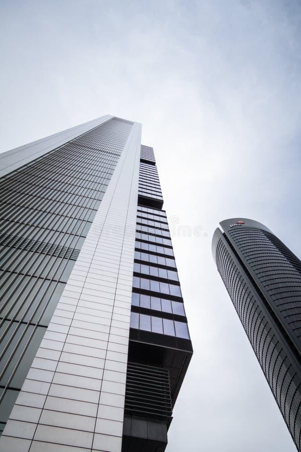 Cuatro Torres Business Area (CTBA) building skyscrapers, in Madrid, Spain stock photography