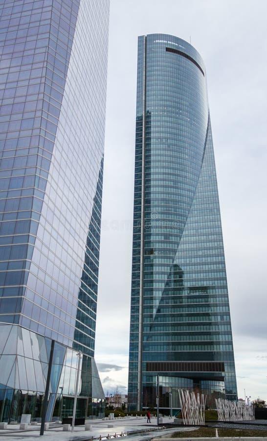 Cuatro Torres Business Area (CTBA) building skyscrapers, in Madrid, Spain royalty free stock image
